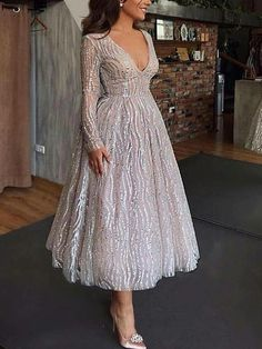 Sequins Silver Long Sleeve Plung Wedding Dress - - Sequins Silver Long Sleeve Plung Wedding Dress – cillyy mall Source by grigorevkiryak Lace Evening Gowns, Evening Dresses With Sleeves, Cheap Evening Dresses, Dresses Short, Sexy Dresses, Casual Dresses, Formal Dresses, Elegant Midi Dresses, Wedding Dress