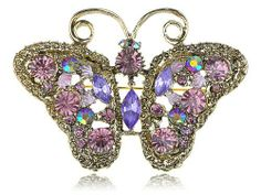 Amazon.com: Amethyst Violet Rhinestone Jewel Fairytale Butterfly Vintage Inspired Pin Brooch: Jewelry