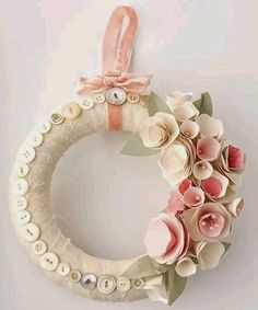 Button and paper wreath