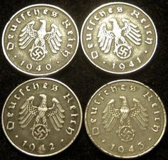 Four World War II German 10 Reichspfennig Coin Collection - 1940A, 1941A, 1942A &1943A waterwrestler