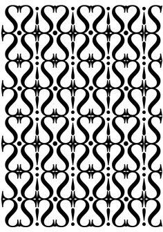 """Sabon LT std, Jan Tschichold, 1967. Pattern 3 bn:""""delicato"""". Ho utilizzato la lettera S maiuscola Regular alternata a punti e a punti esclamativi. La S mostra la caratteristica del font serif. La composizione è geometrica e regolare."""