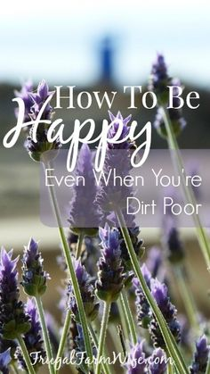 How to be happy when you're dirt poor. I'm not saying it'll be easy, but you CAN be happy no matter what.