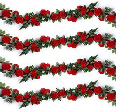 YILIYAJIA FT) Artificial Rose Vines Fake Silk Flowers Rose Garlands Hanging Rose Ivy Plants for Wedding Home Office Arch Arrangement Decoration (red) - Modern Design Silk Roses, Silk Flowers, Spring Flowers, Red Roses, Artificial Garland, Artificial Flower Arrangements, Artificial Flowers, Floral Arrangements, Rose Garland