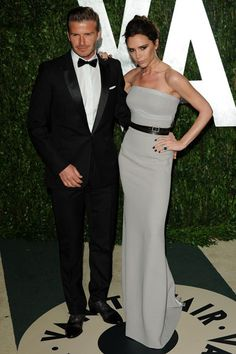At the Vanity Fair Oscars party with Victoria, who wore a dress of her own design.