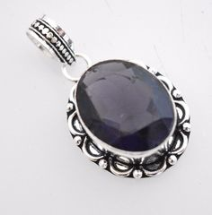 Vintage Look Amethyst Quartz Sterling Silver Plated Bridal Jewelry Pendant E113 #valueforbucks #Pendant