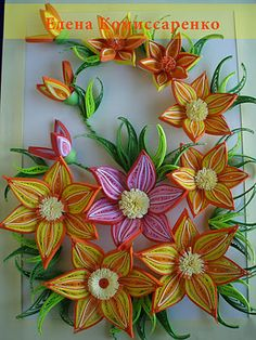 Quilled flowers, bright colors