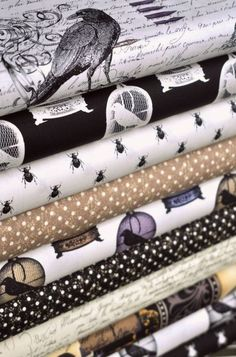 I need some Spider Black Crow fabric. Edgar Allen Poe tribute from Michael Miller Fabrics