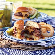 Stuffed Barbecue Burgers with Beer-Cheddar Fondue - For the ultimate meal, serve beer tempura onion rings alongside.