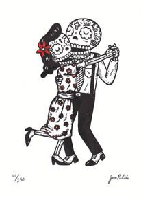 """Dancing Calaveras Gocco Print    1 color Gocco screenprint with hand coloring on Coventry Rag Paper. Limited Edition of 250. Measures 5"""" x 7""""  $10 @ etsy"""