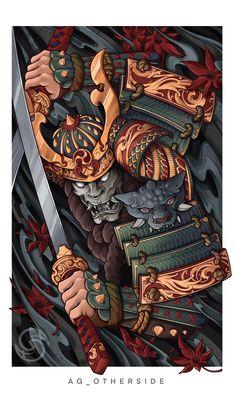Japanese Art Styles, Japanese Tattoo Designs, Japanese Tattoo Art, Japanese Sleeve Tattoos, Japanese Warrior Tattoo, Japanese Dragon Tattoos, Samurai Warrior Tattoo, Warrior Tattoos, Pine Tattoo