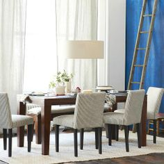 Carroll Farm Dining Table from West Elm - pic 4 Leather Dining Chairs, Upholstered Dining Chairs, Dining Room Furniture, Living Room Chairs, Modern Furniture, Outdoor Furniture Sets, Dining Rooms, Condo Furniture, Furniture Ideas