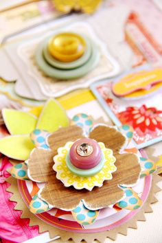 pretty paper flower and button