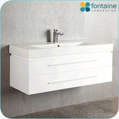 Bathroom Vanity White Wall Hung Ceramic Basin 1200 NEW by fontaineind - $415.00