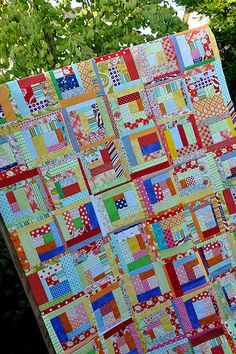 scrappy log cabin quilt block tutorial