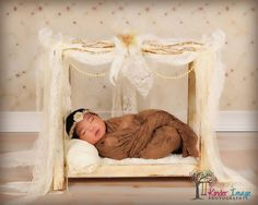 "Image of ""Sweet Dreams"" Newborn Canopy Prop Bed with all the Beauties!"