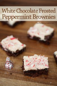 white chocolate frosted peppermint brownies