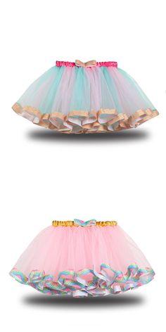 Toddler Kid Girl Color Matching Rainbow EdgeTutu Skirt Tutus For Girls, Kids Girls, Girl Tutu, Toddler Girl, Tulle, Satin, Rainbow, Skirts, Color