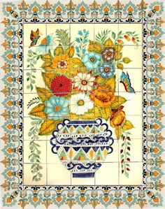 Mexican Tile - Vase and Flowers Handpainted Mexican Talavera Ceramic Tile Mural Tile Murals, Tile Art, Mexican Folk Art, Mexican Style, Mexican Hacienda, Talavera Pottery, Mexico Art, Style Tile, Hand Painted Ceramics