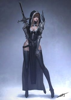 Oh Ji Sung Legs sword female warrior armored armor stockings stocking fantasy power pose panties cleavage