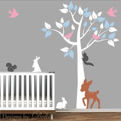 Nursery Tree Removable Vinyl Wall Decal with Cute Forest Animals