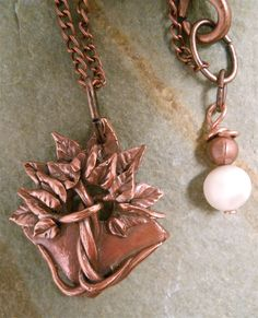 Tree-of-Life Necklace in rustic copper, finished with freshwater pearls