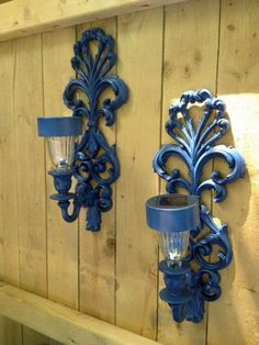 Set of Two Outdoor Solar Light Sconces for Fence or Side of House. Outdoor Decor