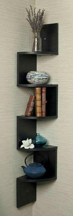 projects idea of corner wall shelving.  Pinterest
