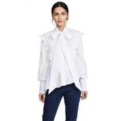Preen By Thornton Bregazzi Preen Line Octavia Blouse ($405) ❤ liked on Polyvore featuring tops, blouses, white, white bow blouses, white button down blouse, bow tie blouse, ruffle blouse and button down blouse