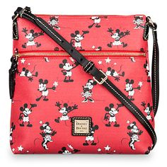 Mickey and Minnie Mouse Retro Large Crossbody Bag by Dooney & Bourke - Red | Disney Store