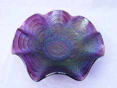 Imperial Cobblestones carnival glass dish, an unusually vibrant purple color