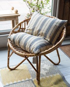 New Arrivals Day This week's latest antique finds are now on the website (link in bio). Today's selection includes this cane & bentwood scoop chair by Franco Albini Italian c.1950 #foundbyhowe  Also seen here: - Swedish pillow in white & navy ticking with pure down c.1970. - Flat weave kilim Swedish c.1950.