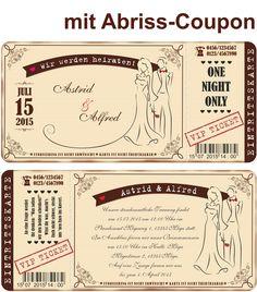 hochzeiteinladung Für mit Abriss-Coupon VIP Ticket Beige Hochzeitskarten | eBay