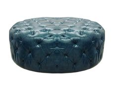 Armen Living Victoria Ocean Blue Bonded Leather Ottoman