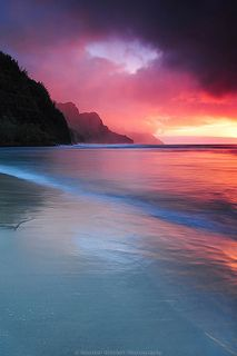 landscape UP pink beach ocean sunset hawaii seascape under uncropped nature Beautiful Sunset, Beautiful Beaches, Beautiful Scenery, Simply Beautiful, Ciel, Belle Photo, Amazing Nature, Pretty Pictures, Cool Pictures Of Nature