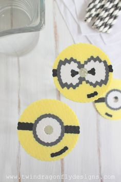 Minion Perler Bead Cup Covers