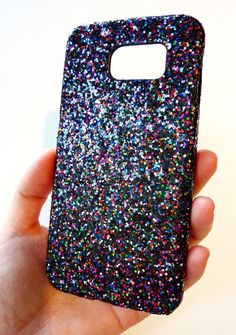 Beautiful Bling Case for Samsung Galaxy S 6 s6 Black Multicolor Crystal Glitter Shiny Cellphone Case Cover faceplate handmade by Yunikuna
