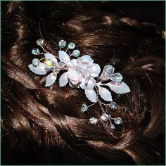 #Bohemian #Bride Blush Rose Gold Floral Rhinestone & Crystal Spray Bobby Pin Bridal #Wedding Hair Accessories #Hair piece Hairpins $32
