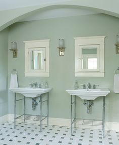 Gentle green softens utilitarian surfaces in the master bath, where zones include this sink arch. Craftsman Style Bathrooms, Bungalow Bathroom, Craftsman Tile, Craftsman Interior, Modern Craftsman, Craftsman Style Homes, Craftsman Bungalows, Craftsman Houses, Bungalow Interiors