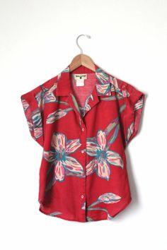 Vintage Red Hawaii Shirt Floral Women's by InfinityAmpersand, $25.00
