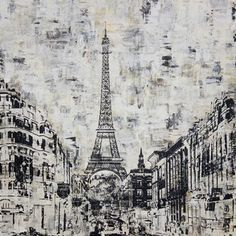 Art in Style 'La Tour Eiffel Paris' Black and White Hand-Painted Wall Art | Overstock.com