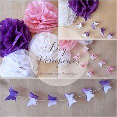 DIY Pompones de papel y guirnaldas Mariposas