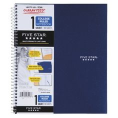 FiveStar 100ct 1-Subject College Ruled Notebook Assorted Colors 1.99