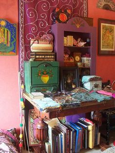 I love the mish mash look of a sewing room, sewing room   Flickr - Photo Sharing!