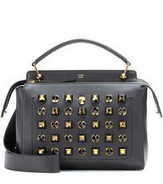FENDI DotCom embellished leather shoulder bag