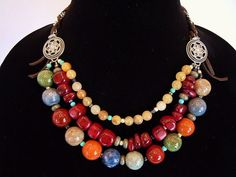 Multi Strand Stone and Ceramic Necklace by Debbie by DebbieRenee, handmade jewelry
