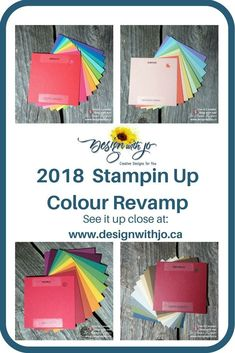 2018 Stampin Up Revamp Color Combos, Color Schemes, Paper Art, Paper Crafts, Stamping Up, Rubber Stamping, Ink Color, Color Pallets, Craft Items