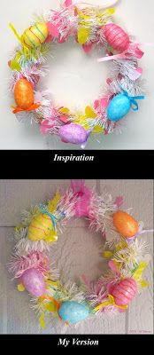 Easter Wreath. See it on my blog: Studio Window. Inspired by Yolanda Soto Lopez. All Crafts Channel https://www.youtube.com/channel/UC2vNl4iUpM4Z1Lxlg2BN_4Q
