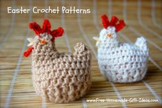 Free Easter Crochet Patterns You'll Be Hooked To. Functional Egg Cozy Chicken. www.Free-Homemade-Gift-Ideas.com