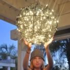 Repurpose Flower Baskets into a Glowing Outdoor Chandelier | Tween Craft Ideas for Mom and Daughter
