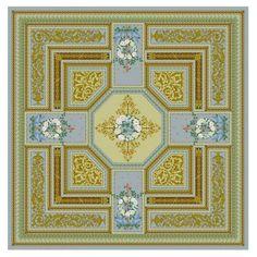 Золотисто-голубой ковер с цветами Hermitage Antique #antiue